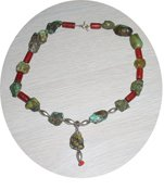NATURAL TURQUOISE & CORAL & STERLING NECKLACE TCN48064