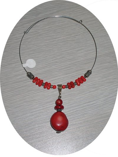 RED CORAL STONES & STERLING MEMORY WIRE CHOKER CMW14536