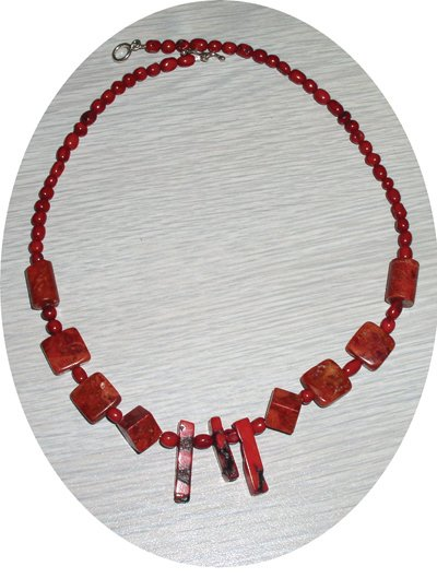 STICK, FLAT & ROUND RED CORAL NECKLACE CN44032