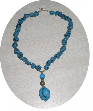 TURQUOISE CHUNK & STERLING DROP NECKLACE TN138064