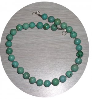 ROUND TURQUOISE & STERLING NECKLACE TN118064