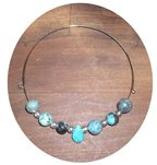 ROUND & TEARDROP TURQUOISE CHOKER ON MEMORY WIRE TMW13024