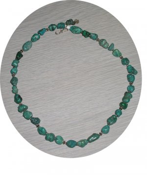 TURQUOISE NUGGETS WITH STERLING NECKLACE TN25040