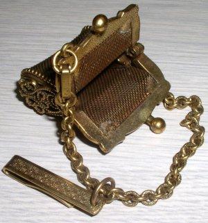 Beautiful Vintage Gold Metal Chatelaine Miniature Purse