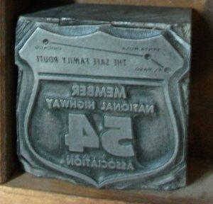 Vintage Hwy 54 Printers Block