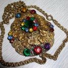 Vintage Czech-Boho Gold Wash Jeweled Pendent
