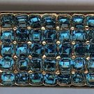 Vintage gold toned & blue rhinestone  Boucher air metal