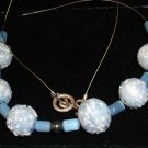 Vintage blue & white speckled glass necklace