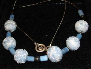 Vintage blue & white speckled glass necklace