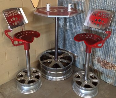 RE-PURPOSED BAR TABLE & 2 CHAIRS