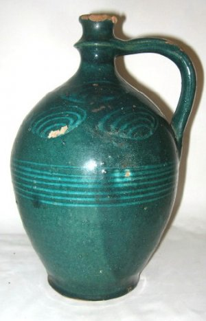 1840'S ANTIQUE PRIMITIVE AMERICANA POTTERY JUG