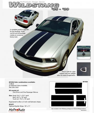 """Ford Mustang 2005 2006 2007 2008 2009 """"WILDSTANG"""" Racing and Rally Stripes Kit"""