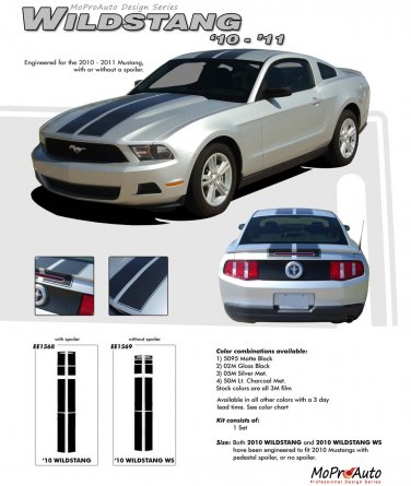 """Ford Mustang 2010 2011 2012 """"WILDSTANG 10"""" Racing and Rally Stripes Kit"""