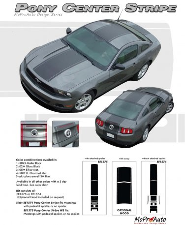 """Ford Mustang 2010 2011 2012 """"PONY CENTER STRIPE"""" Racing and Rally Stripes Kit"""