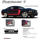 "Ford Mustang 2005 2006 2007 2008 2009 ""FASTBACK 1"" Style Side Stripes Kit"
