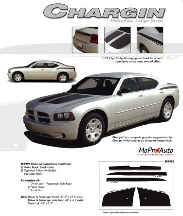 CHARGIN : 2006 2007 2008 2009 2010 Dodge Charger Hood Decals Stripes 3M Vinyl Graphics