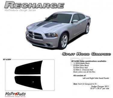 RECHARGE HOOD : Split Hood Decals Graphics Kit for 2011 2012 2013 2014 Dodge Charger