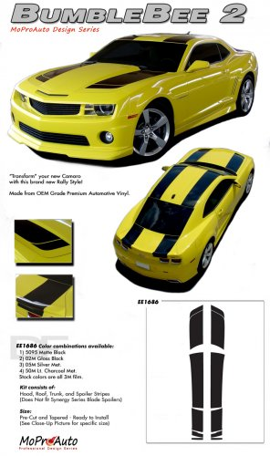 """BUMBLE BEE 2 : 2010 2011 2012 2013 2014 Chevy Camaro """"Transformers 3"""" Style Racing Stripes"""