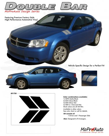 AVENGED DOUBLE BAR : Hash Style Vinyl Graphics Kit for 2008 2009 2010 2011 2012 2013 Dodge Avenger