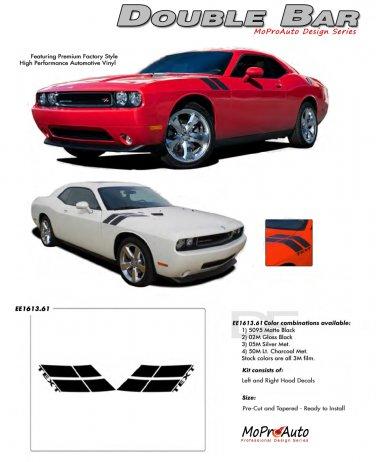 DOUBLE BAR : Hood Hash Style Vinyl Graphics Kit for 2008 2009 2010 2011 2012 2013 Dodge Challenger