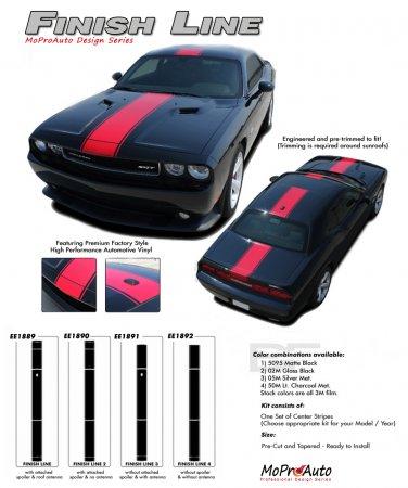 FINISH LINE : Wide Center Vinyl Racing Stripes Graphics Kit fits 2011 2012 2013 Dodge Challenger
