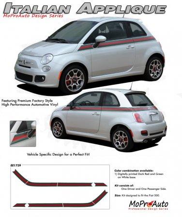 ITALIAN WIDE STRIPE : 2011 2012 2013 Fiat 500 Vinyl Graphics Kit