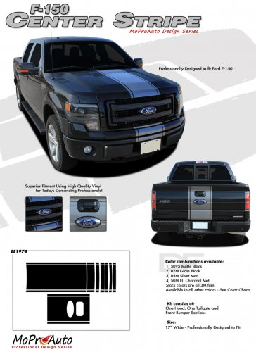 CENTER STRIPE : Ford F-150 Racing Stripes Vinyl Graphics Decals 2009 2010 2011 2012 2013 Models
