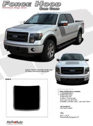 FORCE HOOD (Solid Color) : Ford F-150 Hood Vinyl Graphic Kit for 2009 2010 2011 2012 2013 Models
