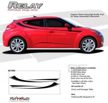 RELAY  : Vinyl Graphics Kit Engineered to fit the 2011 2012 2013 Hyundai Veloster