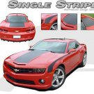 Wide Middle Hood w/ Side Rally Racing Stripe Trim Decal Graphic 2010-2013 Camaro