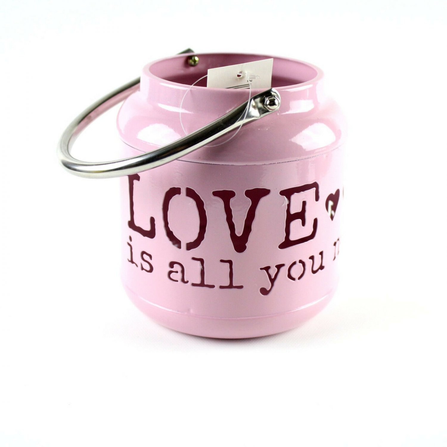 Love Is All You Need Pink Metal Pail Laser Cut Candle Holder w Handle Hearts