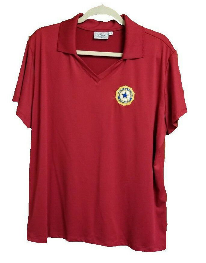 Womens American Legion Auxiliary Short Sleeve V-Neck Polo Red 3XL