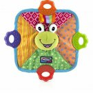 Nuby Green Frog Teething Blankie Squeak Crinkle Comfort Teether Blanket BPA Free