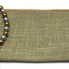 Avon Linen Cotton Clutch Summer Favorites Shimmering Beaded Pull Cosmetic Bag
