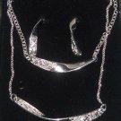 Necklace Earrings Bracelet Mona Twist Avon Silvertone Rhinestones 3 Pc Gift Set