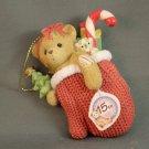 Cherished Teddies Bear in Red Mitten 15th Anniversary Ornament 4009301 Avon 2007