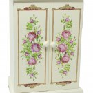 Avon Jewelry Armoire Floral Painted Wooden Box 6 Drawers Necklace Spinner Mirror