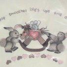 Vtg Spinnerin Stitchery Friendship Crewel Embroidery Kit Bunnies Rocking Horse