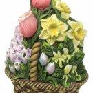 PartyLite Tealight Candle Holder Ceramic Spring Floral Bouquet Flower Basket