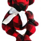 Bear Hugs Plaid Poseable Teddy Bear White Satin Ribbon 14 inch Red Black Fleece