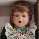 Crowne Fine Porcelain Doll Holly Vintage 1998 Stand COA NIB Green Dress Handmade