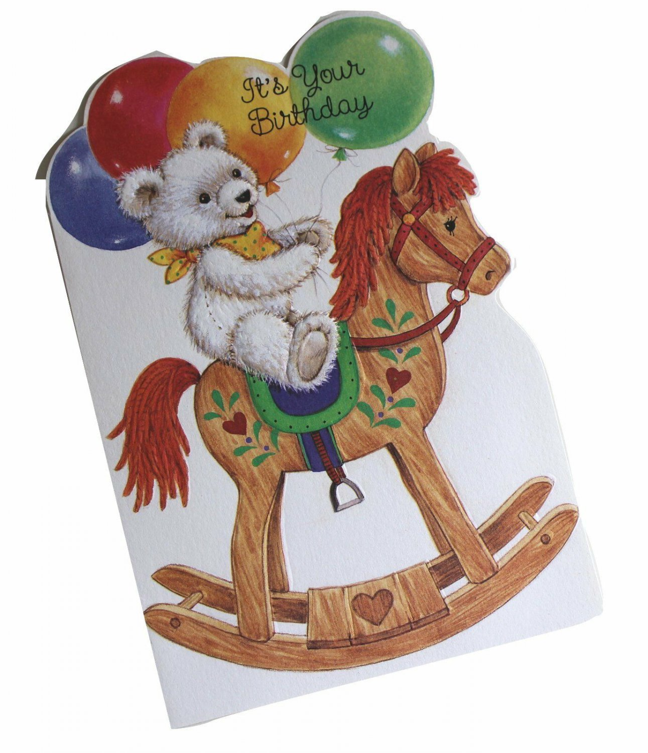 Gallant Birthday Greeting Card w Envelope Bear Rocking Horse Recycled