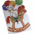 Gallant Birthday Greeting Card w Envelope Bear Rocking Horse Recycled