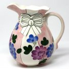Hand Painted Ceramic Water Pitcher with Colorful Flower Motif and Bow
