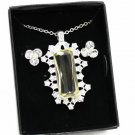 Avon Chic Frost Pendant Necklace Earring Set Silvertone Clear Rhinestones 16