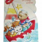 Gallant Birthday Greeting Card w Envelope Bear Dog Cat Sail Boat Fish Recycled