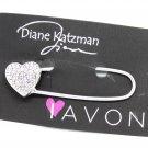 Diane Katzman Avon PRP Sales Leader Charm Brooch I Love Avon Crystal Heart Pin