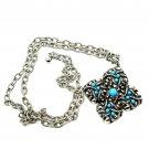 Avon Vintage 1970s Silvertone Necklace w/ Faux Turquoise Pendant 25 inch Adjust