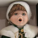 Crowne Fine Porcelain Doll Holly Vintage 1998 Stand COA NIB Green Coat