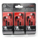 3-Pack M Angle Earbud Stereo Earbuds with Mic by CJ Global Bundle Pack